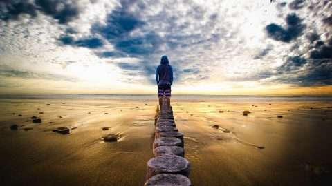 A picture of a man standing at the beach for an article about dealing with flashbacks when in trauma or PTSD - Self-help